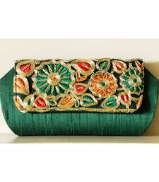 Buy Ethnic Indian Art Silk Clutch with Handmade Thread Border clutch online
