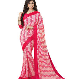 Buy Pink printed georgette saree With Blouse ayesha-takia-saree online