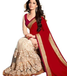 red embroidered georgette saree With Blouse shop online