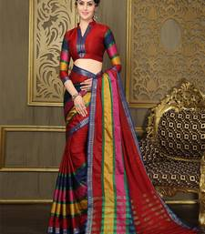 Buy Multicolour printed cotton saree With Blouse cotton-saree online
