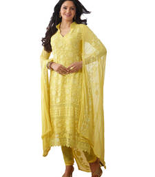 Buy Yellow embroidered semi stitched salwar with dupatta pakistani-salwar-kameez online