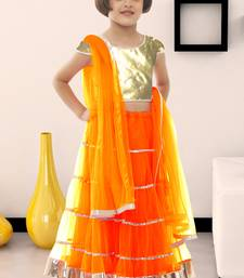 Buy Orange plain soft net kids lehenga choli garba kids-lehenga-choli online
