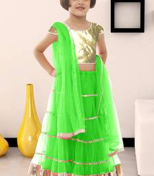 Buy Parrot plain soft net kids lehenga choli kids-lehenga-choli online