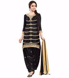 Buy Black cotton embroidered semi stitiched salwar with dupatta punjabi-suit online