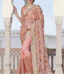 Buy baby pink embroidered net saree With Blouse party-wear-saree online