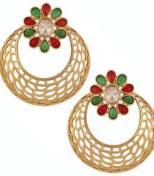 Buy antique gold plated filigree red green kundan chaand bali earring stud online