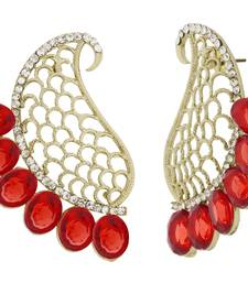 Buy Designer Paisley Antique Rhodium Plated Red Earring for Women stud online
