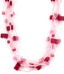 Buy pink beaded  layered necklace collar-necklace online