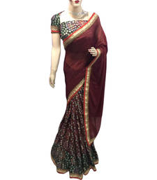 Buy Maroon printed brasso saree with blouse brasso-saree online