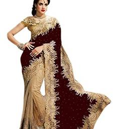 Buy maroon embroidered velvet saree With Blouse bridal-saree online