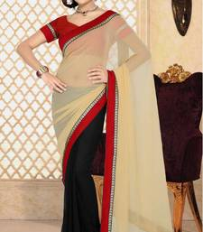 Buy Simplistic Beige And Black Color Faux Georgette Designer Sarees With Blouse georgette-saree online