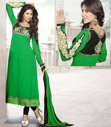 Buy Hypnotex Georgette Green Dress material Around213 dress-material online