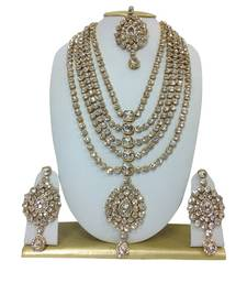 Buy WHITE HAARAM NECKLACE SET WITH MAANG TIKKA necklace-set online