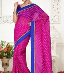 Buy Unique Look Magenta Color Tissue Jacquard Designer Saree With Blouse jacquard-saree online