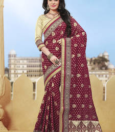 Buy maroon hand woven pure silk saree With Blouse heavy-work-saree online