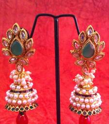 Buy Green red flower in uncut ad stone pearl jhumka earring v349gr gifts-for-wife online