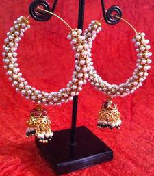 Buy Rows of pearls embedded in a metal bali with red green jhumki v354 gifts-for-wife online