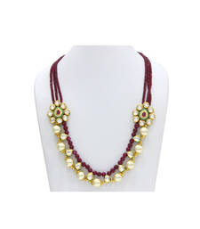 Buy Maroon stone agate necklaces party-jewellery online