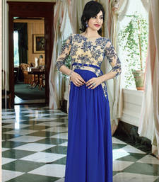 Buy Blue georgette embroidered party wear gown readymade-suit online