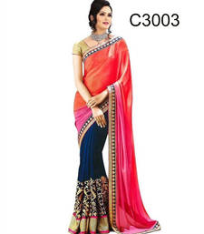Buy Pink and black printed Georgette saree With Blouse wedding-saree online