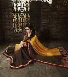 Buy yellow and coffee  embroidered satin saree with blouse satin-saree online