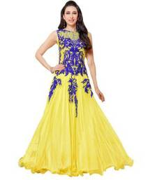 Buy Yellow georgette embroidered unstitched salwar dress-material online