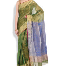 Buy green woven chanderi saree With Blouse chanderi-saree online