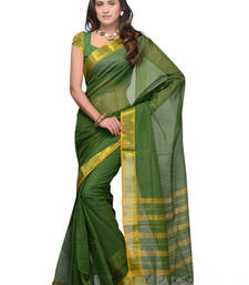 Buy CottonBazaar Green Colored Cotton Saree  cotton-saree online