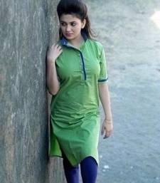 Buy Green cotton plain kurti cotton-kurti online
