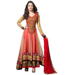 Buy Red net unstitched salwar with dupatta anarkali-salwar-kameez online