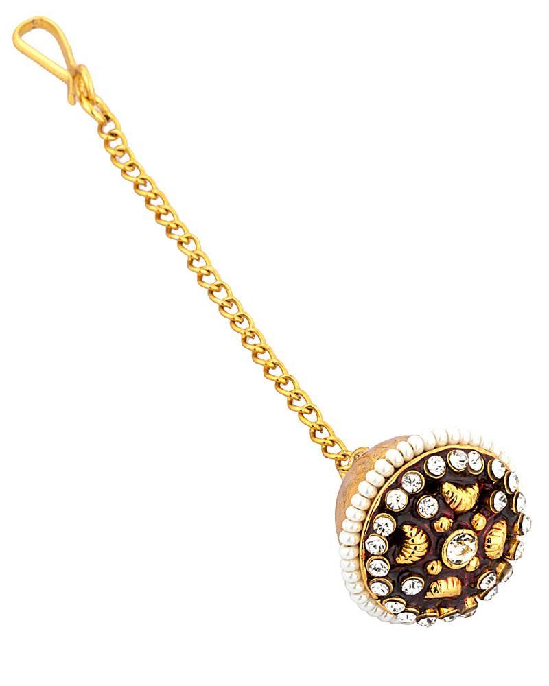 Buy Gold Beaded Jewellery Maang-tikka Online
