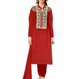 Buy Red embroidered cotton unstitched salwar with dupatta dress-material online
