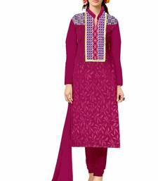 Buy Maroon embroidered cotton unstitched salwar with dupatta dress-material online