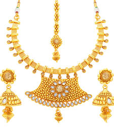 Buy Modish gold plated necklace set for women necklace-set online