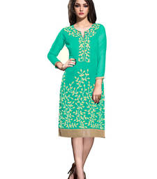 Buy Turquoise georgette embroidered stitched kurti georgette-kurti online