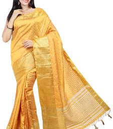 Buy Mustard woven tussar silk saree With Blouse tussar-silk-saree online