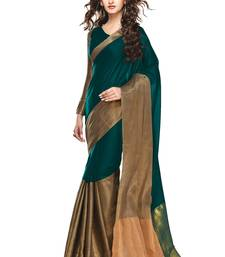Buy Dark Green Golden woven Cotton Blend saree With Blouse cotton-saree online