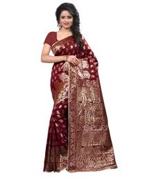 Buy maroon embroidered banarasi silk saree With Blouse banarasi-silk-saree online