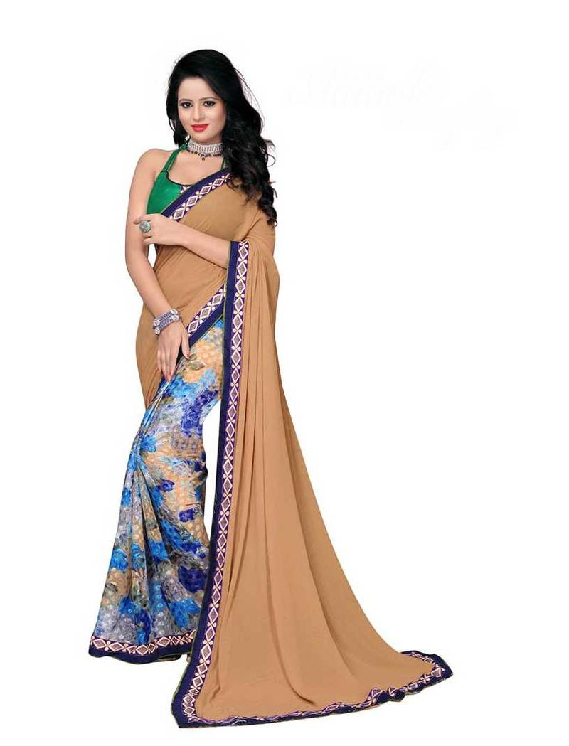 Buy Beige printed brasso saree With Blouse Online
