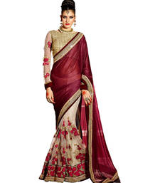 Buy maroon embroidered lycra saree With Blouse party-wear-saree online