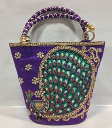 Buy Peacock Design Embroidery Handbag in Purple handbag online