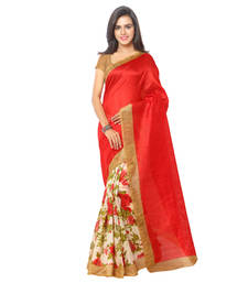 Buy Red And Beige printed raw silk saree With Blouse party-wear-saree online