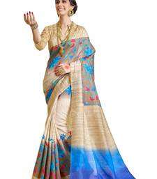 Buy Blue And Beige printed raw silk saree With Blouse party-wear-saree online