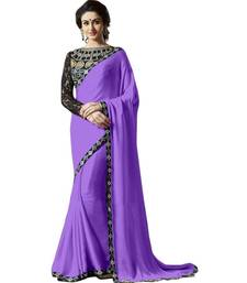 Buy Blue embroidred chiffon saree with blouse satin-saree online
