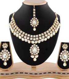 Buy Wedding wear austrian stone gold finishing necklace set with maang tikka eid-jewellery online