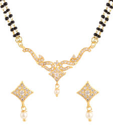 White gold plated mangalsutra set shop online