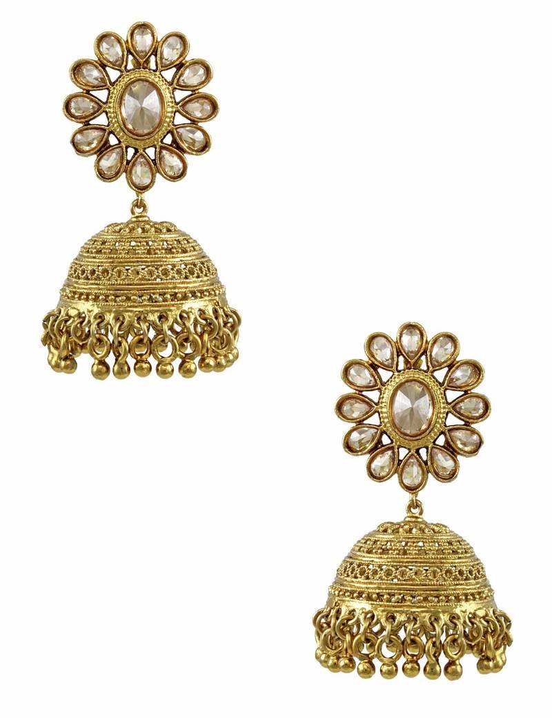 Buy Golden Beige Polki Stones Jhumki Earrings Online. Bahubali Heroine Jewellery. Artificial Nose Jewellery. Hyderabadi Nawab Jewellery. Beautiful Diamond Jewellery