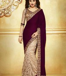 Buy maroon embroidered velvet saree with Embroidered blouse party-wear-saree online