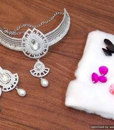Buy Party wear stylish n elegant zircon n changeble colored stone necklace set necklace-set online
