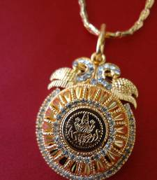 Buy Laxmi Pendant with designer Chain - Golden Necklace online